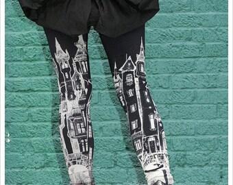 Black City Leggings - Womens Black Legging tights - printed tights - wearable art