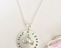 Just Keep Swimming - Hand Stamped Necklace - Quote Necklace - Fish Necklace - Fish Jewellery - Gift for Her