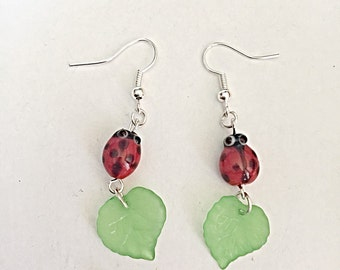 Ladybird Earrings - Ladybug Earrings - Insect Earrings - Dangle Earrings - Cute Earrings - Ladybird Jewelry - Insect Jewelry - Summer