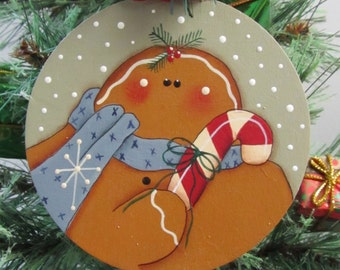 Gingerbread Man Christmas Holiday Ornament - Decoration - Hand Painted Wood