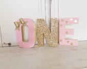 """1st Birthday """"ONE"""" Letter Set with BOW ~ 8"""" Pink & Gold Glitter ~ Free Standing ~ Photo Prop ~ Table Decor"""