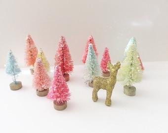 "Gum Drop Bottle Brush Trees ~ Set of 1 Doz. Glittered Christmas Trees ~ 1.5"" Tall ~ Putz House ~ Winter"