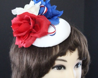 July 4th hat, Patriotic July 4th Red, White and Blue Fascinator for Celebrations, Parade, Picnic, Pageant, July 4th Hat   by Doll Dressed Up