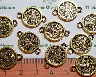 16 pcs per pack 15 mm Reversible San Benito Coin Link Antique Gold Lead free Pewter