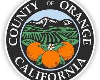 Orange County Seal Sticker Round for Laptop Book Fridge Guitar Motorcycle Helmet ToolBox Door PC Boat