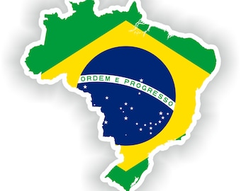 Brazil Map Flag Silhouette Sticker for Laptop Book Fridge Guitar Motorcycle Helmet ToolBox Door PC Boat