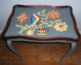 Bespoke side table with hand painted folk art design