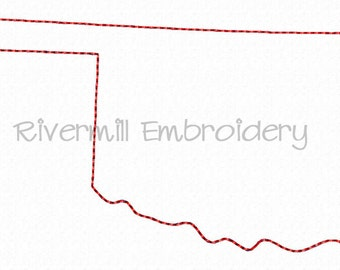 Raggy Applique State of Oklahoma Machine Embroidery Design - 4 Sizes