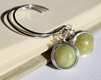 Green Garnet Earrings, Grossularite Earrings, Sterling Silver Wire Wrapped Open Hoop Earrings, Light Green Earrings, Olive Green Stone