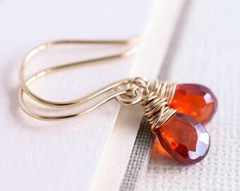 Orange Gemstone Earrings, Gold Earrings, Orange Zircon Earrings, Dark Orange Earrings, Red Orange Earrings, Natural Zircon, Wire Wrapped