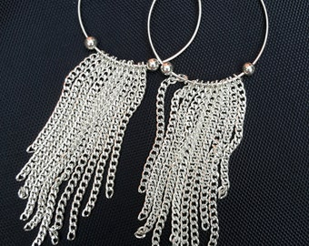 Christmas gifts for her, tassel earrings, silver boho earrings, boho hoop earrings, boho tassel earrings, silver hoop earrings, uk seller