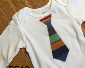Green Blue Red Striped Patchwork Appliqued Boy Tie 12 Month Long Sleeve Onesie Bodysuit Little Man Christmas Gift B546