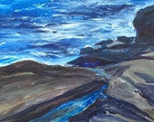 Nubble Point Rocks Maine Acrylic on paper by Lynne Vokatis