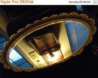 Christmas In July Sale 1960's Vintage Large Gold Ornate Framed Vanity Mirror Mid Century Modern Hollywood Regency Home Decor