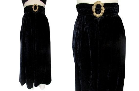 Velvet Black High Waisted Goth Grunge Belted Witch Skirt