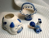Lot of three (3) Delft blue ceramic pieces; Hand painted, Pig, Chicken or Rooster, Elesva Holland Basket