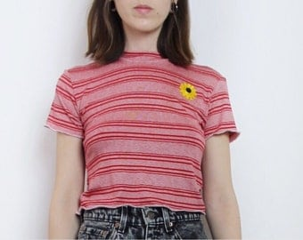 70s Summer Red Stripe Crop Top with Vintage Sunflower Patch Made to Order