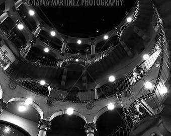 Spiral stairwell 9x12 black and white photo print by Tayva Martinez