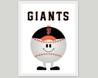 San Francisco Giants, artwork, children's nursery artwork, print, picture, baseball, sports, boy, SF, world series, kids room
