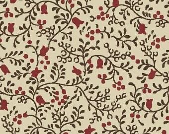POSTAGE STAMP brown vine print cotton print by the yard   Civil War Windham Fabric 41676-5