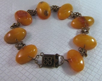 c1920's Amber Nugget and Brass Link Bracelet