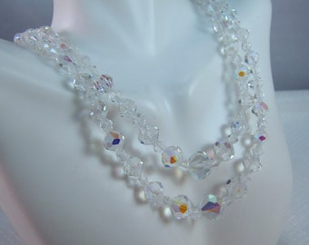 Double Strand Faceted AB Crystal Bead Necklace