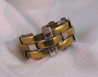 Artisan Handcrafted Brass and Sterling Silver Basket Weave Bracelet