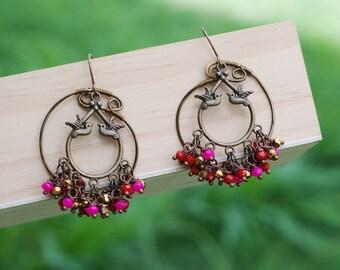 Love Bird Chandelier Earrings Fuchsia Red Gold Crystals Wire Wrap Earrings