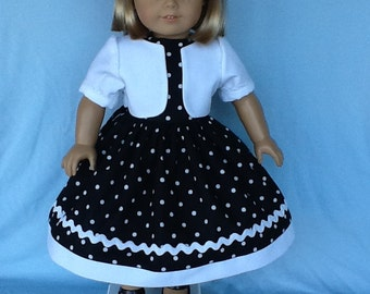 18 inch doll dress , jacket, and hair clip fits American Girl dolls. Black and white dot cotton with white contrast.