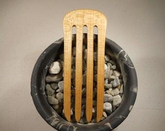 4 prong maple wood hair fork