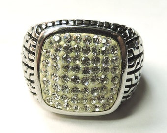 "Vintage Ring..Stainless Steel...""Edforce"" Ring Gent's Stainless Steel... Pavé Crystal...Size 12.5"