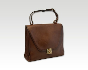 Vintage, Brown Leather Handbag, Top Handle Bag, Purse, Tote, Shopper, circa 1970s