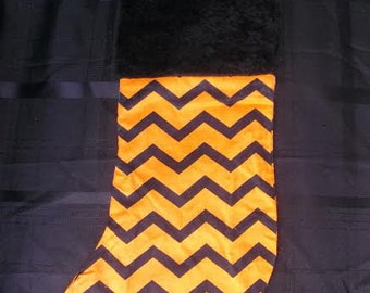 Orange and Black Striped Cotton Fabric Christmas Stocking Only One