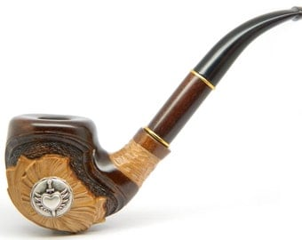 Tobacco Smoking pipe - HEART and SWORD -  Hand carved (9mm filter) + Gift Pouch