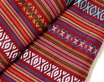 Thai Woven Fabric Tribal Fabric Native Fabric by the yard Ethnic fabric Aztec fabric Craft Supplies Woven Textile 1/2 yard Red Blue (FF7)