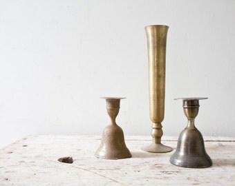Lot of Three Vintage Brass Vases Vintage Gold Vintage Pitcher Gold Vase Brass Candlestick Candle Stick Brass Bells