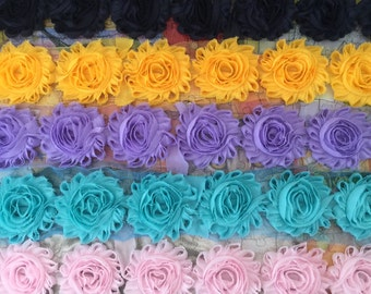 5 Yards Shabby Flowers - Deep Navy , Gold Yellow , Lavender , Aqua Blue and Light Pink
