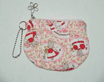 "Gathered Zipper Pouch / Card and Coin purse Made with Japanese Cotton Oxford Fabric ""Marron Cream"""