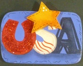 USA Pin/Magnet Americana Star Hand Painted Wood July