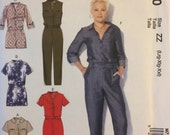McCall's M7330, Size Large, X Large, XX Large, Misses' Rompers and Jumpsuits Pattern, UNCUT, One Piece, Button Front, Fun, Casual, Trendy