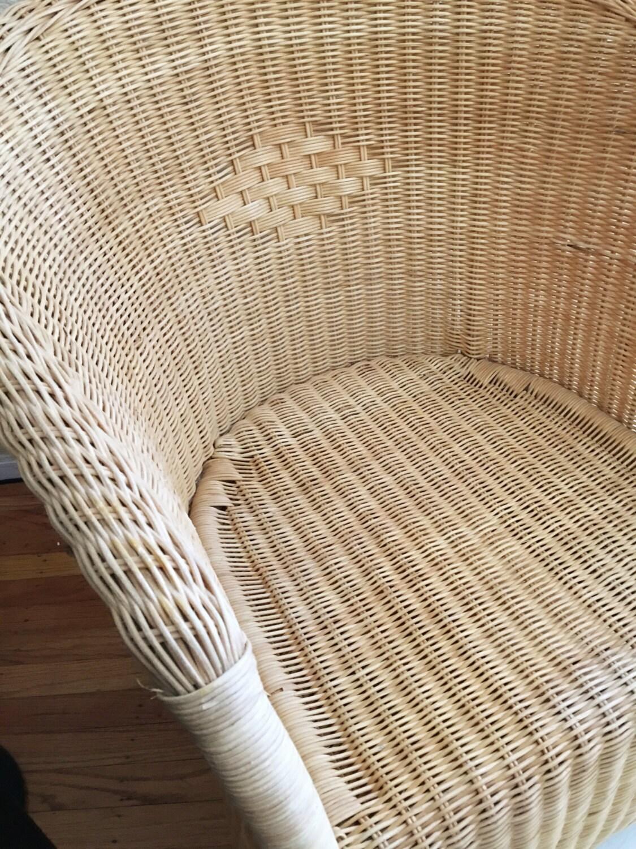 natural boho wicker rattan indoor outdoor armchair patio chair