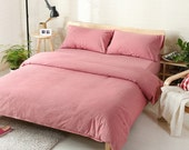 Duvet cover  set 100% Linen Flax Dusty Rose color - Seamless Washed Softened - Ideal for HOT climate - Reserved