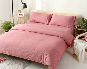 Duvet cover  100% Linen Flax Dusty Rose color - Seamless Washed Softened - Twin Full Queen King California King - Ideal for HOT climate