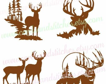 Deer Silhouettes SVG - Deer SVG - Digital Cutting File - Silhouette Cut - Vector File- Instant Download - Svg, Dxf, Jpg, Eps, Png