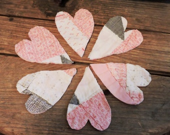Patchwork Heart Appliques, Shabby Upcycled Vintage Feedsack Cutter Quilt Prim Pink Embellishments 4 Crafting, Valentines Day itsyourcountry
