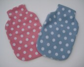 Spotty Polar Fleece Hot Water Bottle Cover - Pale Blue or Pale Pink with White Spots, Cozy Cover