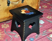 """Hand Painted  STEP STOOL - Americana - signed - 10"""" tall - Black with heart cutout  - Tole painting"""