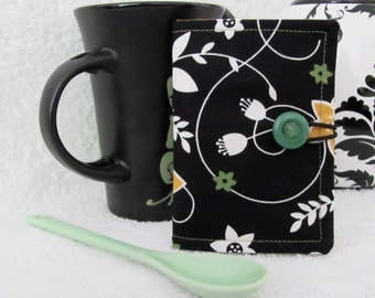 Quilted Tea Wallet Tea Bag Holder Black Apple Green Gold Fabric Matching Accent Fabric Quilted Tea Leaf Accent Stitch Antique Green Button
