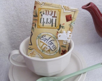 Quilted Tea Wallet Tea Label Theme Fabric Burgundy & Green Polka Dot Accent Fabrics Quilted Leaf Stitch White Teapot Button - Tea Bag Holder