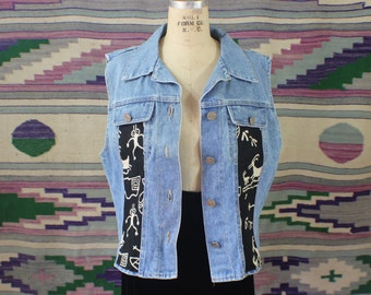 DENIM Vest /Buffalo Nickle Jean Hieroglyph Vest / Oversize Women's Vest